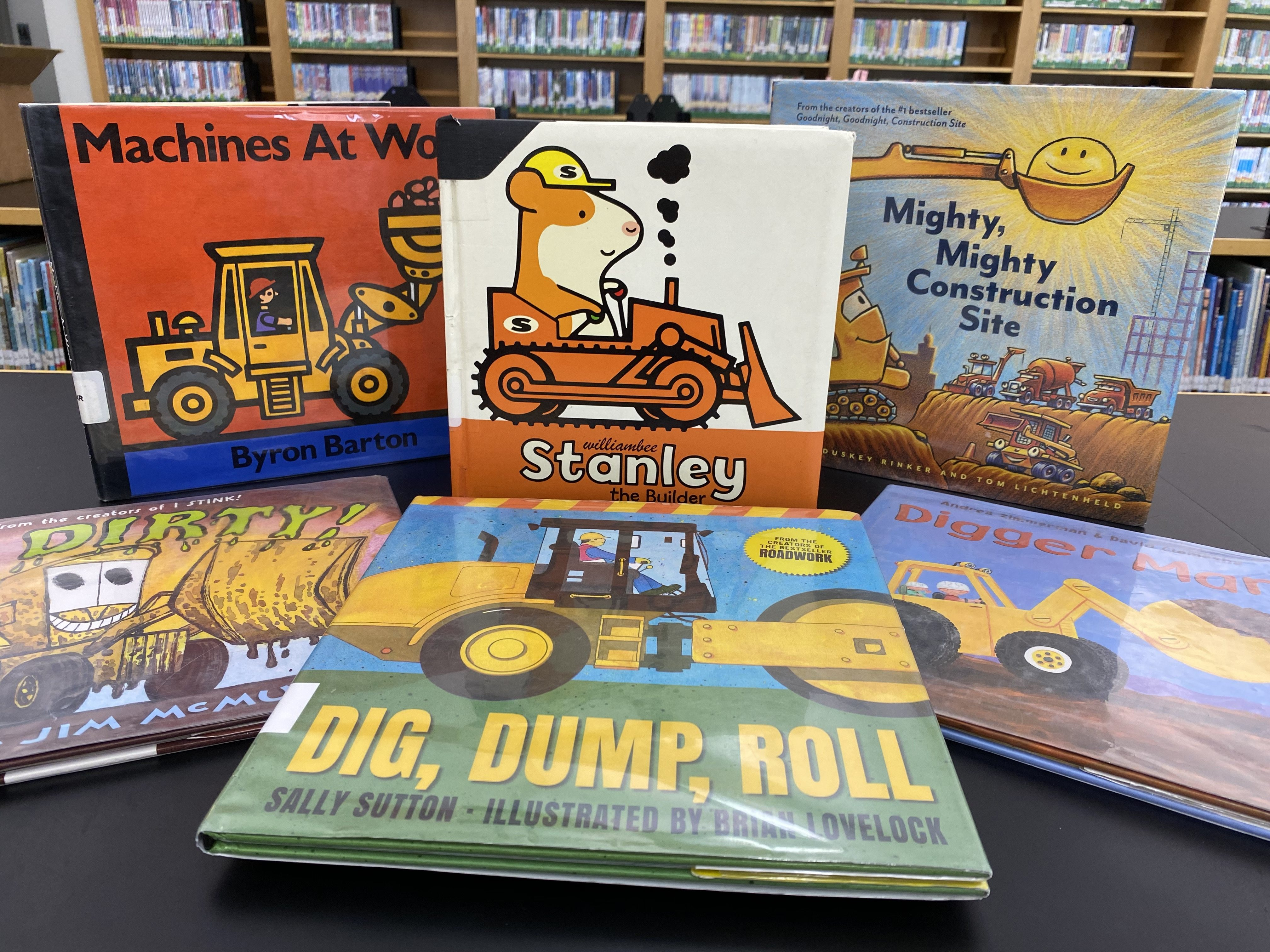 A collection of children's books about construction, put together as an example of a book bundle