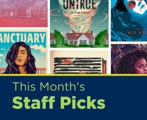 Text: This Month's Staff Picks. Links to Teen Services Staff Picks book list.
