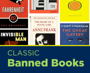 Text: Classic Banned Books. Links to Teen services classic banned books book list