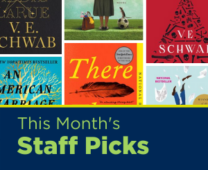 Text: This Month's Staff Picks. Links to Adult Services staff picks book list