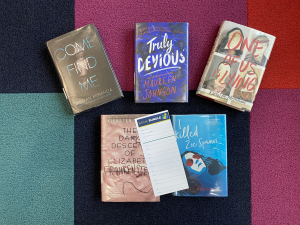 """An example of a book bundle from teen services, put together around the theme """"thriller"""""""