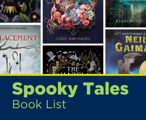 Text: Spooky Tales Book List. Links to Teen Spooky Tales Book List