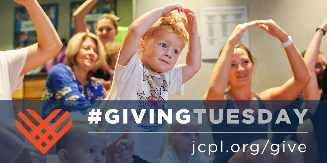 A toddler participates in an activity at the library. Text: #GivingTuesday jcpl.org/give