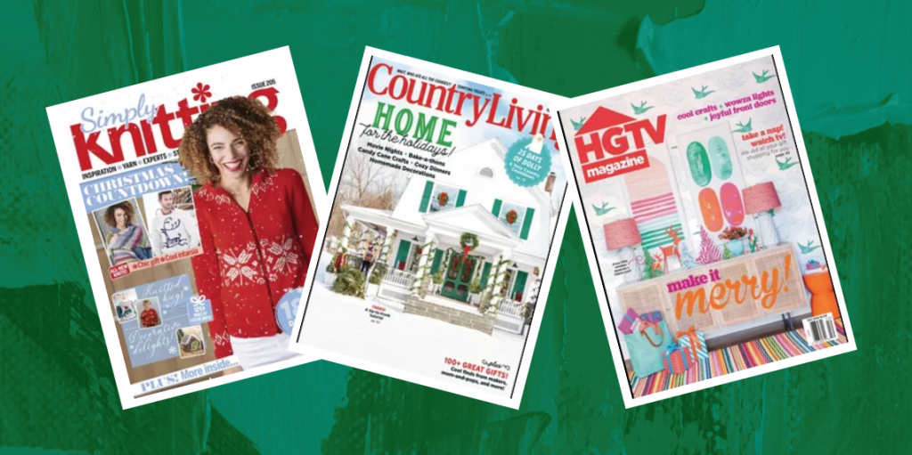 Three digital magazine covers on top of a festive green background